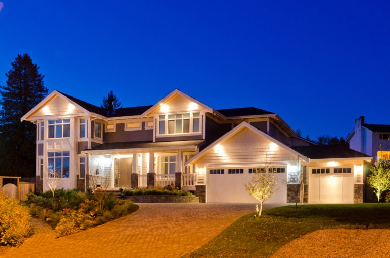 Luxury Home showing electrical lighting at night
