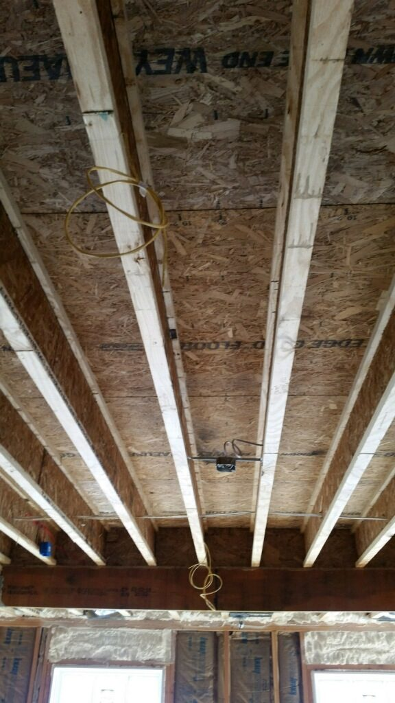 View of an unfinished ceiling showing the electrical work being done