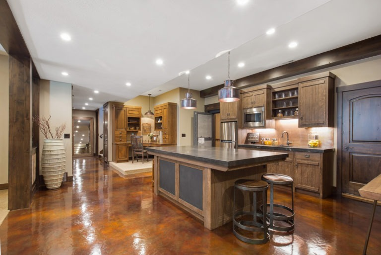 Second-kitchen-in-basement-showing-beautiful-electrical-lighting